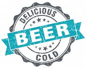 Beer Blue Grunge Retro Style Isolated Seal