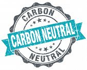 Carbon Neutral Turquoise Grunge Retro Vintage Isolated Seal