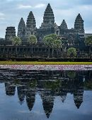 Angkor Wat temple in Cambodia. Famous tourist travel destination poster