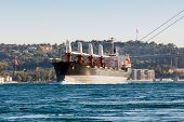 large ship tanker proceeding along the Bosphorus