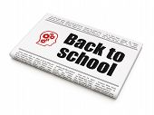 Education concept: newspaper with Back to School and Head With Gears