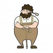 cartoon farmer leaning on walking stick