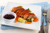 Roasted Duck Breast With Vegetables, Wild Blueberries