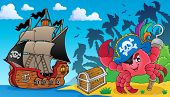 Pirate crab theme image 3 - eps10 vector illustration.