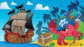 Pirate crab theme image 3 - eps10 vector illustration.