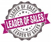 Leader Of Sales Violet Grunge Retro Vintage Isolated Seal