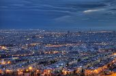 stock photo of tehran  - HDR shot from Tehran skyline and illuminated buildings of the city just after sunset - JPG