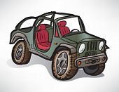 Drawing Off-road Vehicle Jeep Khaki