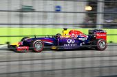 SINGAPORE - SEPTEMBER 20:  Sebastian Vettel of the Infiniti Red Bull Renault clinching the fourth position in the qualifying round of the Singapore Grand Prix on SEPT 20, 2014