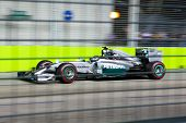 SINGAPORE - SEPTEMBER 20:  Lewis Hamilton takes up pole position for team Mercedes in the qualifying round of the Singapore Grand Prix on SEPT 20, 2014