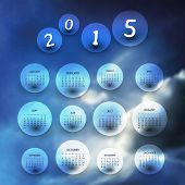 Calendar 2015 - Vector Illustration Design with Blurred Background
