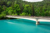 foto of bavarian alps  - Turquoise water of Lech river in Bavarian Alps - JPG