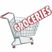 Groceries word in red 3d letters in a grocery store shopping cart to illustrate buying produce, food and other products you need