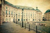 Vintage view of old town in bordeaux city, France Europe
