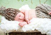 beautiful newborn baby boy asleep in a wicker basket in knitted cap