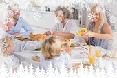 Happy Family eating the thanksgiving dinner against fir tree forest and snowflakes