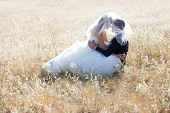 Happy bride and groom on a bright sunny day