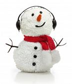 Snowman in earphones and red scarf isolated on white background.