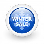 winter sale blue glossy icon on white background