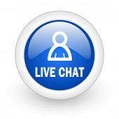 live chat blue glossy icon on white background