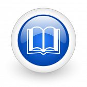 book blue glossy icon on white background