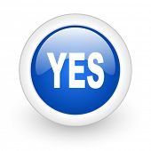 yes blue glossy icon on white background