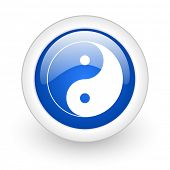 ying yang blue glossy icon on white background