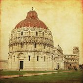 Miracle square in Pisa. Italy. Grunge and retro style.