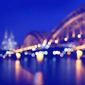 Blurred city lights with bokeh in Cologne. Germany.