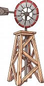 Cartoon windmill. Vector clip art illustration with simple gradients. All in a single layer.