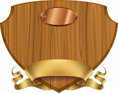 Wooden shield label wrapped with golden banner. Editable vector template made with gradient mesh.