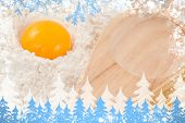 Composite image of snow frame against cooking
