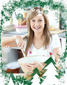 Close up of a woman preparing a cake in the kitchen against christmas themed frame