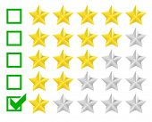detailed illustration of a star rating system with checkbox at one star, eps10 vector