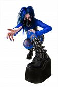 Young Cyber Goth Woman In Big Black Boots