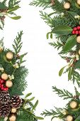 Christmas background border with gold bauble decorations, holly, mistletoe, ivy and winter greenery over white background.