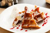 pic of whipping  - belgian waffle with whipped cream - JPG