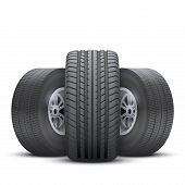Realistic wheels and tire concept.