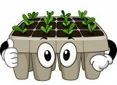 Mascot Illustration Featuring a Seedling Tray