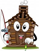 Mascot Illustration Featuring a Cabin Holding a Fishing Pole