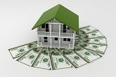 3d house on Pile of money. Conception of growth of mortgage credit.  3d illustration on white backgr