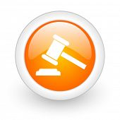 auction orange glossy web icon on white background