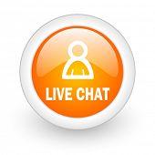 live chat orange glossy web icon on white background