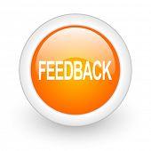 feedback orange glossy web icon on white background