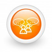 forum orange glossy web icon on white background