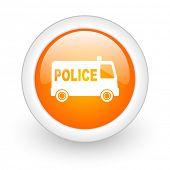 police orange glossy web icon on white background