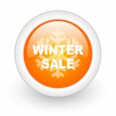 winter sale orange glossy web icon on white background