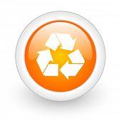 recycle orange glossy web icon on white background