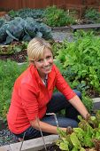 Smiling woman in the vegetable garden