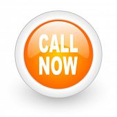 call now orange glossy web icon on white background